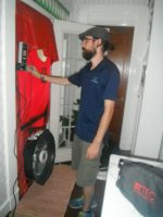 Blower door test to measure air leakage